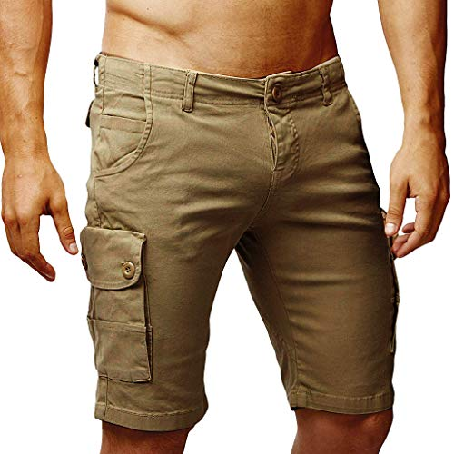 Cargo Shorts Herren Chino Kurze Hose Sommer Bermuda Sport Jogging Training Stretch Shorts Qmber Fitness Vintage Regular Fit Sweatpants Baumwolle Neue Multi-Pocket-Tooling-Shorts(Khaki,XXL)