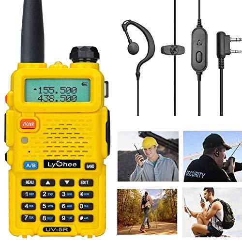 Lycheer Handfunkgerät FM Transceiver Radio UV-5R, Funkgerät Dual-Band CTCSS DCS FM Walkie-Talkie Radio für Arbeiten/Wandern/Camping/Reisen/Ausflug (Gelb)