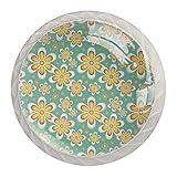 Manillas de armario con 4 cajones, diseño floral, color blanco