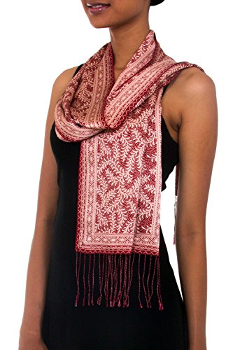 NOVICA Red and Beige Handcrafted Silk Batik Scarf, Red Fern'