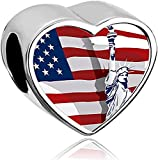 LilyJewelry Independence Day Statue of Liberty USA Flag Heart Photo Charm Beads for European Bracelets