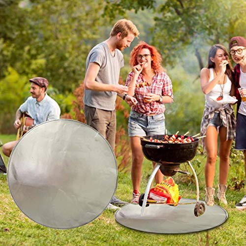 Hedgx Round Under Grill Splatter Mat, Fire Pit Mat Patio Fire Pit Pad - Fireproof Heat Resistant BBQ Gas Grill Garage Cabinet Protective Floor Mat Rug for Outdoor Backyard Deck Patio Protector