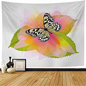 Staromar Tapestry Wall Hanging Beautiful Butterfly On Flower Raster August Sympathy Nature Party Motherx27s Retirement Abstract Cute Tapestry for Bedroom Living Room 60×60 Inch