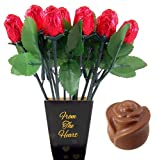 Valentine's Day From the Heart 1 Dozen Belgian Milk Chocolate Roses Bouquet, 2.11 Ounce
