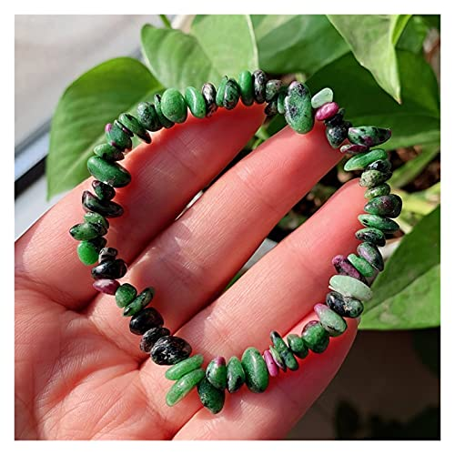 CHHNGPON Esposas Amatistas Naturales Pulsera de Chakra Chakra Real Citrines Lapis Opal Rosa Cuarzo Chipped Gravip Beads Reiki Curación Crystal Bracelet (Metal Color : Rubies)