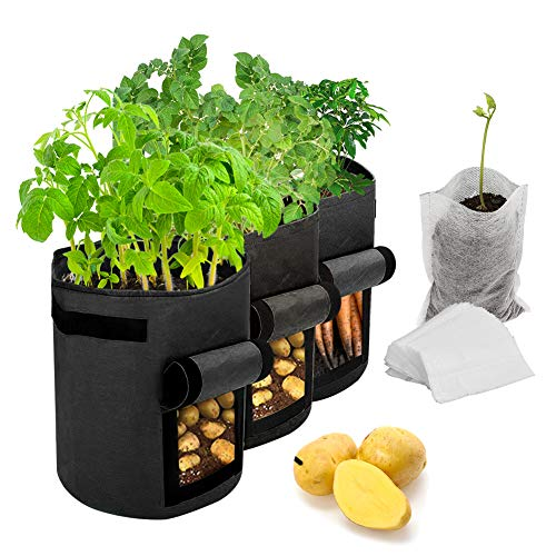 Maylove Potato Grow Bags, 3er Pack 7 Gallonen Plant Growing Bags/Belüftung Vliesstoff-Töpfe Pflanzentaschen mit Griffen Gartengemüsesäcke mit 50 Stück biologisch abbaubaren Pflanzensämlingsbeuteln