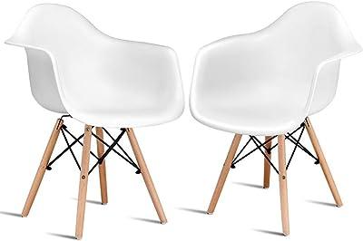 Amazon.com: Juego de 2 patas de madera moldeadas modernas ...