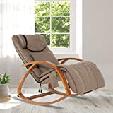 OWAYS Massage Chair 3D Full Back Massager with Cushion, Rocking Design Recliner Chair, Adjustable Pillow, Vibrating and Heating, 6 Massage Modes, Wooden Handrail, Linen Cover (Brown)