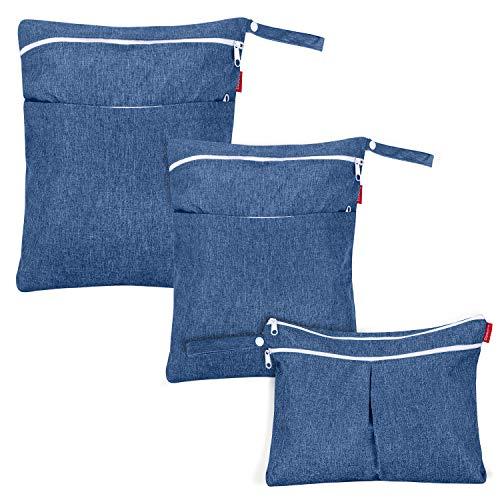 Damero 3pcs Wetbag, Borsa per Pannolini Lavabile, Sacchetto del Pannolino Resistente all'acqua e Riutilizzabile con Tasche con Cerniera, Blu scuro