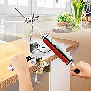 Afilador de Cuchillos Profesional con 4 Piedra para Afilar, Afilador de Cuchillos de Cocina, Amoladora Angular de Acero Inoxidable Tikitaka