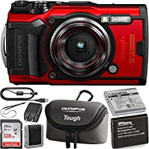 Olympus Tough TG-6 Digital Camera (Red) with Olympus Tough Neoprene Case (Grey) and Starter Kit: Includes- x1 Ultimaxx Li-90B Replacement Battery for Olympus Tough TG-6 Cameras, & SanDisk Ultra 128GB