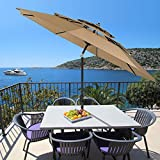 Patiassy 11 Ft 3 Tiers Patio Umbrella with Heavy Duty 240g Solution-Dyed Fabric, Outdoor Table Umbrella with Push Button Tilt and Crank for Garden, Lawn, Deck, Backyard and Pool, Tan