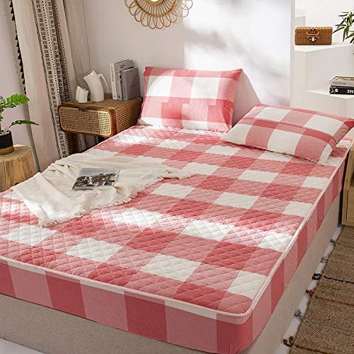 FJMLAY Sábana Bajera Ajustable elástica,Sábanas Gruesas de Ropa de Cama de algodón, Protector de colchón para apartamento de Hotel de Lujo-Pink_1_180 * 200cm