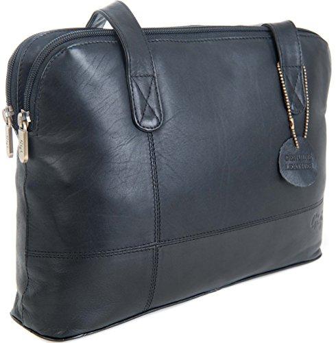 Gigi Othello Leather 3 Section Shoulder Handbag Black 16271