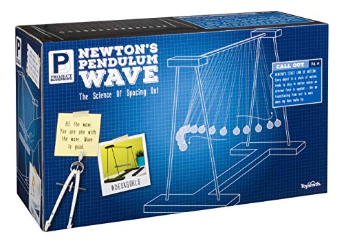 Toysmith Project Blueprint Newton's Pendulum Wave Science Toys - Novelty Desk Décor Sensory Fidget Gift (31890)