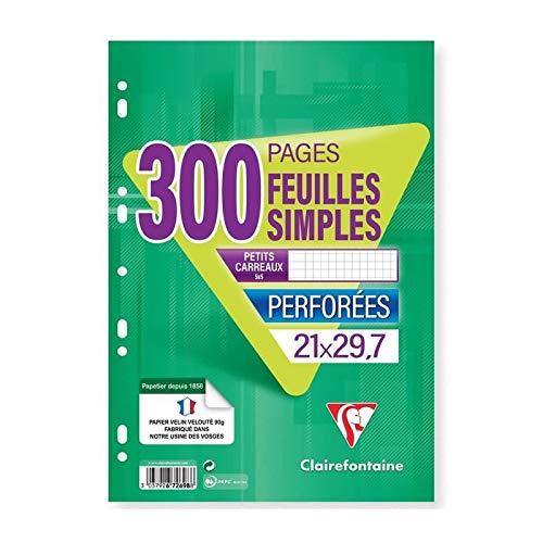 CLAIREFONTAINE - Feuilles simples blanches - 4 coloris assortis - Perforées - 21 x 29,7 - 300 pages 5 x 5 - Papier P.E.F.C 90G