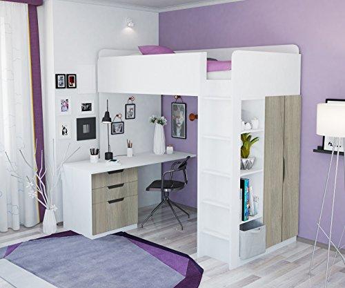 Litera, cama alta Polini para niños, combinación 5en 1en diferentes colores weiß ulme