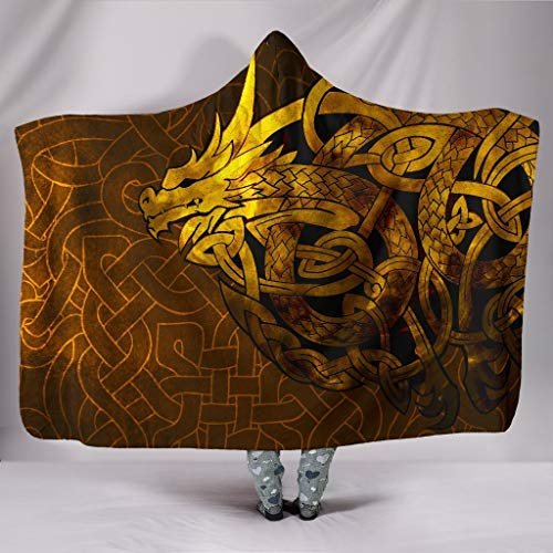 Wecco Celtic Dragon Tattoo on Chest Hooded Blanket Hooded Blanket for Kids, Adults, Teen. Great Gift for Friends and Relatives.