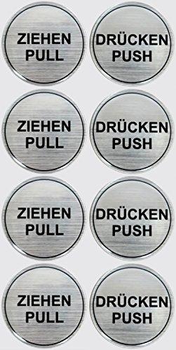 Stickers 3D set van 4 900020-D4 instructieplaatjes geborsteld aluminium trekker pull/druk push - totaal 8 stickers uitstekende bescherming tegen weersinvloeden, geen goedkope foliestickers