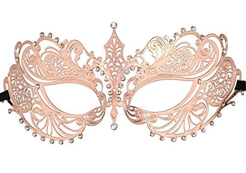 Women's Laser Cut Metal Venetian Halloween Mardi Gras Party Mask(Rose Gold Crown)