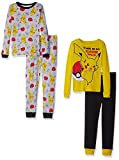 Pokemon Boys' Little 4-Piece Cotton Pajama Set, Pikachu Yellow