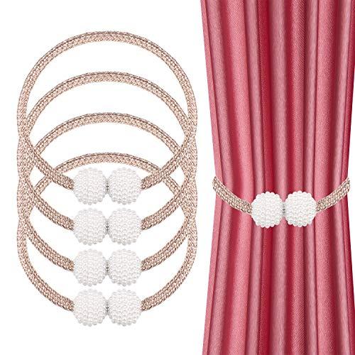 JIZZU 4 Stück Raffhalter Magnetisch, Exquisite Perlenkugelform Gardinen Raffhalter, Gardinen Halterung ohne an der Wand zu bohren, Raffhalter für Vorhänge, geeignet für Schlafzimmer, Esszimmer, Büro