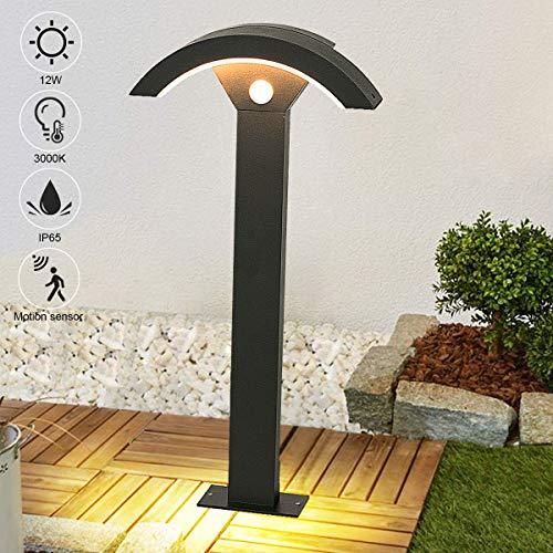 LEDMO 12W LED Wegeleuchten mit Bewegungsmelder,LED Gartenleuchte Außen,Stehlampe Draußen 3000K IP65 Pollerleuchte 60cm,Außenlampe Gartenlampe.