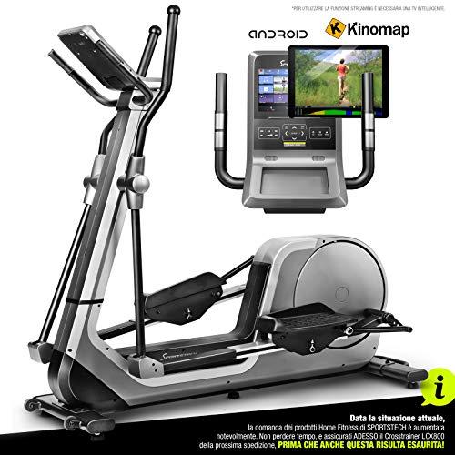 Sportstech Cyclette Premium | Marca di qualità Tedesca | Eventi Video & Applicazione Multiplayer & Console Android | Ellittica a casa LCX800 | 12 Programmi & HRC | Massa volano 24kg