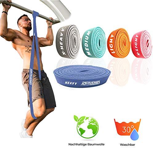 ActiveVikings® Pull-Up Stoff Fitnessbänder - Perfekt für Muskelaufbau und Crossfit Freeletics Calisthenics - Fitnessband Klimmzugbänder Widerstandsbänder (D - Blau (Heavy))