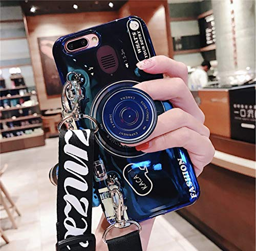 iPhone X Case/iPhone Xs Case (5.8 inch) with Fashion Lanyard, Blue Ray Camera Style Phone Cover, Bling Lightweight Soft TPU Case Cover for iPhone X/XS with Lanyard (Blue, iPhone X/XS)