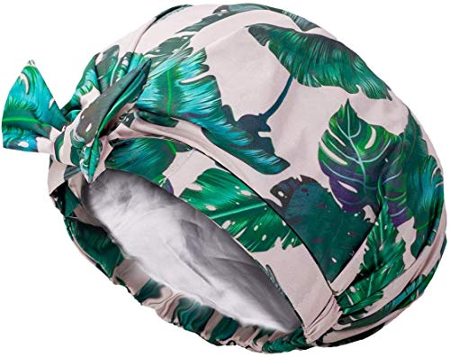 Auban Shower Cap Reusable,Ribbon Bow Bath Cap Oversized Large Design With Moldproof and Waterproof Exterior for All Hair Lengths,Great for Girls Spa Home Use,Hotel and Hair Salon (Green)
