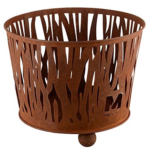 RM Design Feuerschale aus Edelrost Ø 39 cm Terrassenofen/Terrassenkamin als Feuerkorb für den Garten