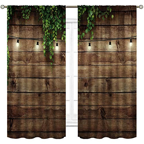 Cinbloo Rustic Wooden Board Curtains Rod Pocket Green Leaves Brown Vintage Barn Planks Printed Living Room Bedroom Window Drapes Treatment 2 Panels 42 (W) x 63(L) Inch