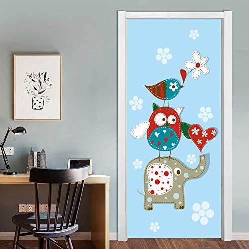 DFKJ Mural Decorativo de Dibujos Animados en 3D, Hoja, Papel Autoadhesivo para niños, habitación para niños, Dormitorio, Armario, Puerta, actualización, calcomanía A3 86x200cm
