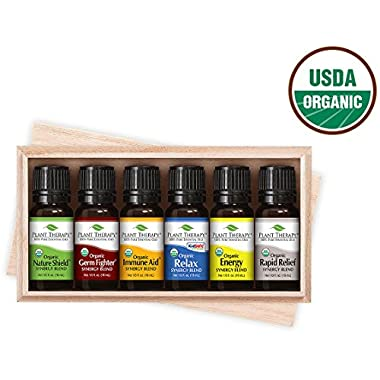 Plant Therapy Organic Synergy Set 10 mL (1/3 oz), Set of 6 Oils