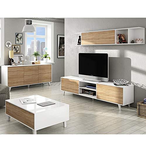 HABITMOBEL Completo Conjunto de salón Comedor, Módulo TV + Estante + Mesa de Centro Elevable + Aparador