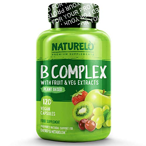 NATURELO B-Complex - with All 8 Essential Natural B Vitamins Including Vitamin B6, Folate, B12 and Biotin – Also Includes Fruit and Vegetable Extracts - 120 Vegan Capsules