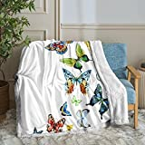 Merryword Butterfly Throw Blanket Butterfly Blanket Colorful Butterflies Printed Soft Sherpa Fleece Blanket Teens Adults Blanket for Bedroom Couch (Twin(60'x80'), Butterfly)