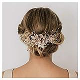 SWEETV Handmade Hochzeit Haar Kamm Perle Floral Leaf Braut Haarschmuck für Bräute und Brautjungfern