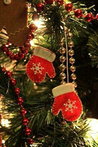 Pinellia Decor Pendenti di Natale Un Paio di Guanti per Albero di Natale Ornamento Pendente Pendente Xmas Candy Snacks Sacchetto Regalo