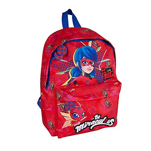 PERLETTI Mochila Miraculous Ladybug para Niña con Bolsillo Frontal - Bolso Escolar Niñas para Escuela y Guardería con Lady Bug y Tikki - Mochilita con Tirantes Regulables Rojo y Azul - 38x26x16