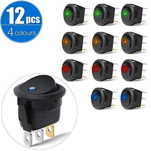 Kippschalter KFZ 12V 20A Wippschalter Rund Schalter für Car Boot Truck Traile mit 4 Farbe LED Dot beleuchtet(12pcs)
