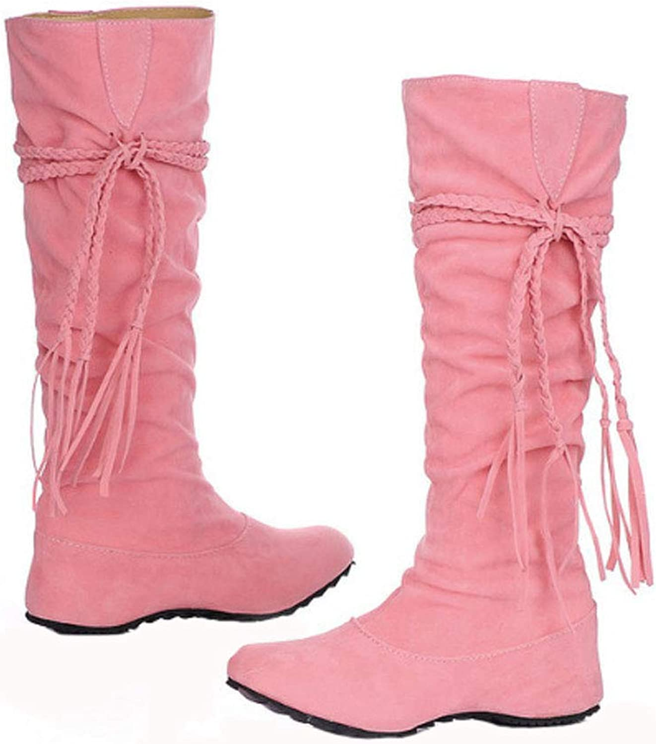Women's Boots, Large Size Women's shoes PU Fabric High Boots Plush Lining Non-Slip Soles Winter Warm Women's Boots, Comfortable Casual shoes,Pink,43