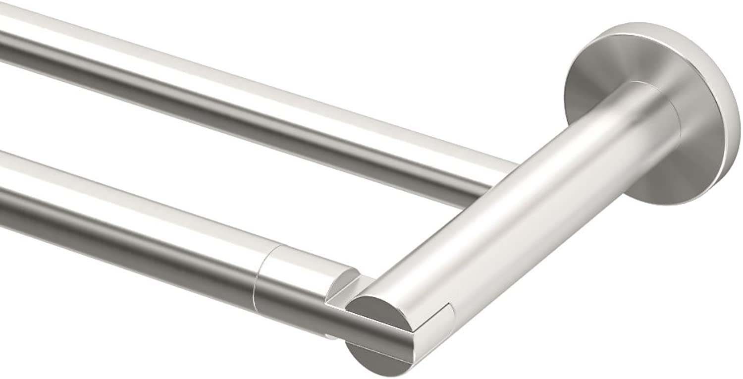 Gatco 4694 24-Inch Channel Double Towel Bar, Satin Nickel