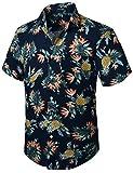 HISDERN Hombre Funky Camisas de piña Hawaiana Manga Corta Bolsillo Delantero Vacaciones Verano...