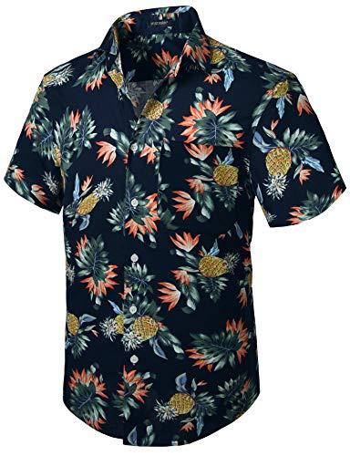 HISDERN Herren Funky Hawaiihemd Freizeithemden Unisex Kurzarm Vordertasche Urlaub Sommer Aloha Bedruckter Strand Beilaufig Hawaii Hemd Ananas S-3XL