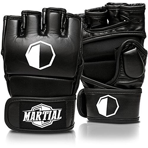 Martial MMA Handschuhe mit hochwertiger Polsterung! Boxhandschuhe für hohe Stabilität im Handgelenk. Freefight Gloves mit Langer Haltbarkeit für Kampfsport, Boxen, Kickboxen, Sparring inkl Beutel!