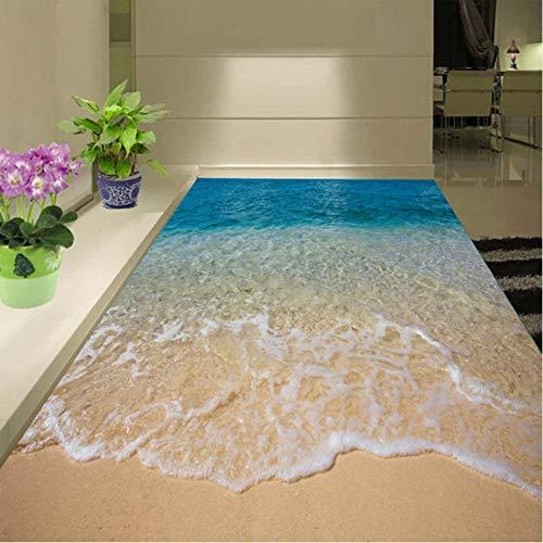 Hwhz Adhesivo De Suelo 3D Personalizado Playa Agua De Mar Sala De Estar Dormitorio Baño Suelo Mural Papel De Vinilo Autoadhesivo-200X140Cm