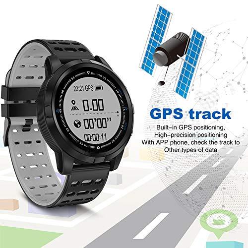 YLH Inteligente los Hombres del Reloj GPS Rastreador IP68 a Prueba de Agua Inteligente Pulsera de Reloj del Monitor del Deporte del Ritmo del corazón SmartWatch (Color : Black Silver)