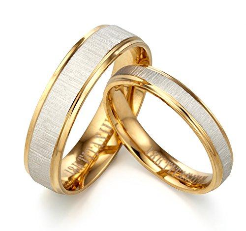 Gemini novio/novia 18K amarillo a juego aniversario de llenado de oro anillos de boda 6mm & 4mm Hombres Sz 7San Valentín